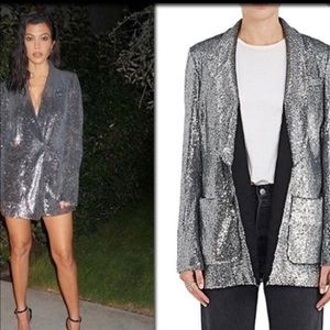 A.L.C for Barneys NY Quincy Silver Sequin Blazer S